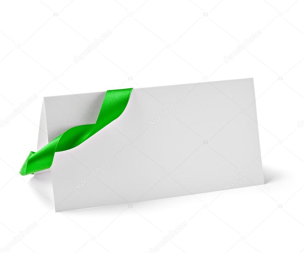 Close up of  card note with  ribbon on white background  with clipping path — Стоковая фотография #13773050