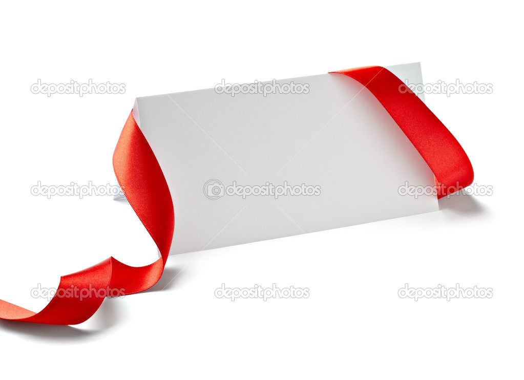 Close up of  card note with  ribbon on white background  with clipping path — Stock Photo #13776829