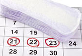 Woman hygiene protection menstruation period health care calenda — Stock Photo