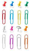 Push pin thumbtack paper clip office business — Stock Photo