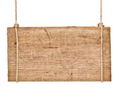 Wooden sign background message rope hanging — Stock Photo