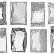 White silver aluminum paper bag package food template — Stock Photo