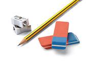 鉛筆消しゴム鉛筆削り学校教育 — ストック写真