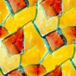 Yellow watercolor seamless red cubism background — Stock Photo #13750988