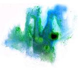 Pinceau aquarelle art abstrait bleu vert artistique backg isolé — Photo