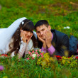 Bride and groom picnic yellow autumn forest in romantic setting — Stock Photo #14552295