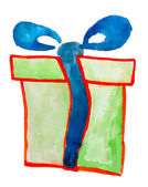 Green gift box isolated watercolor — Stock Photo