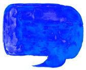 Hand blue watercolor drawn isolated speech bubbles — Stock Photo