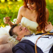 Redhead bride and groom, wedding in green field, a picnic on gra — Stock Photo