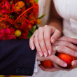 Stock Photo: Newlyweds hands rings on wedding bouquet