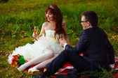Bride redhead and groom fun laugh, wedding in green field sittin — Stock Photo