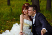 Redhead bride and groom, wedding in green box, sitting on grass — Stock Photo