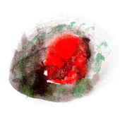 水彩ブラシ抽象芸術赤黒芸術的な分離を — ストック写真