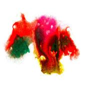 Pinceau aquarelle art abstrait rouge jaune vert artistique isolé — Photo