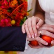 Couple at wedding, bride and groom close-up hands with rings — Photo #15512275