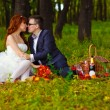 Couple bride and groom sitting on the green grass, a picnic in w - Lizenzfreies Foto