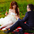 In Russia couple bride and groom sitting on green grass, picnic - Lizenzfreies Foto