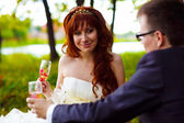 Redhead bride and groom, wedding in green box, sitting on picnic — Stock Photo