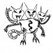 Royalty-Free Stock Photo: Monster three heads evil hero hand drawing isolated