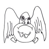 Monster křídla zlá hrdina ruční kreslení izolované — Stock fotografie