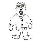 Łysy mężczyzna z okulary gangstera kreskówka — Zdjęcie stockowe
