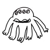 Monster evil hero octopus hand drawing isolated — Stock Photo