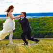 Newlyweds are on a high mountain wedding, the bride and groom ki — Foto Stock