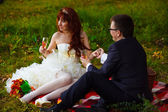 In Russia couple newlyweds bride and groom sitting on green gras — Stock Photo