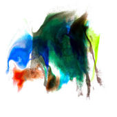Abstract isolated green blue watercolor stain raster illustratio — Stock Photo