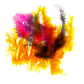 Abstract yellow red isolated watercolor stain raster illustratio — Stock Photo