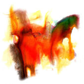 Abstract isolated red yellow orange watercolor stain raster illu — Photo