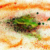 マクロ テクスチャ オレンジ緑水彩ブラシ ストロークで — ストック写真