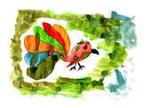 赤ちゃんの鳥の色の尾を持つ水彩ドローイング上で分離されます、 — ストック写真