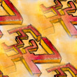 Watercolor seamless yellow red cubism background — Stock Photo #15799021