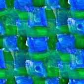 Bezszwowe malarstwo niebieski siatka zielony kwadrat akwarela z jasnymi — Zdjęcie stockowe