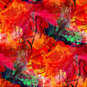 Watercolor art red yellow seamless abstract texture hand painted — Stock Photo
