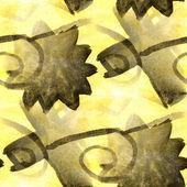 Aquarell nahtlose gelb, schwarzer hintergrund — Stockfoto