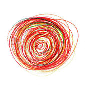 Abstract red painting colored circles texture pencil line — Stock Photo