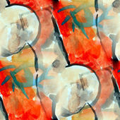 Watercolor seamless red black cubism background — Stock Photo