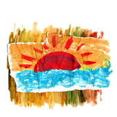 Figure sea and sun with brush strokes — Stock Photo