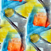 Watercolor seamless blue red yellow background — Stock Photo