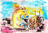 Smutny tyłek pieścić siedzący obok poległych koszyka jabłko drawi akwarela — Zdjęcie stockowe