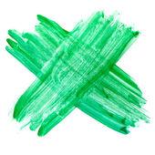 Green cross watercolor paint brush watercolour color stroke back — Stock Photo