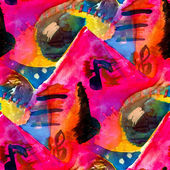 Watercolor painting abstract eye notes colorful seamless backgro — Stock Photo