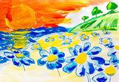 Camomile field near river a beautiful sky with sun watercolor ba — Stock Photo