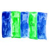 蓝绿色方形水彩背景的水彩笔刷纹理 — 图库照片