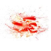Abstrakte aquarell blot texture patch rot isoliert auf weiss — Stockfoto