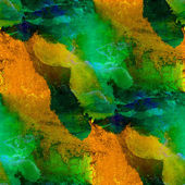 Seamless painting green brown yellow watercolor with bright brus — Stock Photo