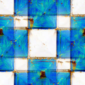 Seamless texture rusty white and blue squares — Stock Photo