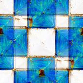 Nahtlose Textur rostige weißen und blauen Quadrate — Stockfoto